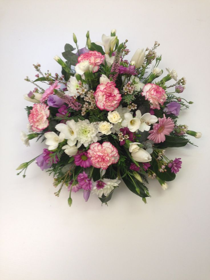 Pastel pink lilac and white funeral posy