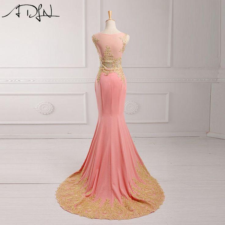 Adln ярко-розовый 2017 вечернее платье длиной до пола Длина Аппликация из бисера блестками Длинные вечерние платья Русалка вести Noche