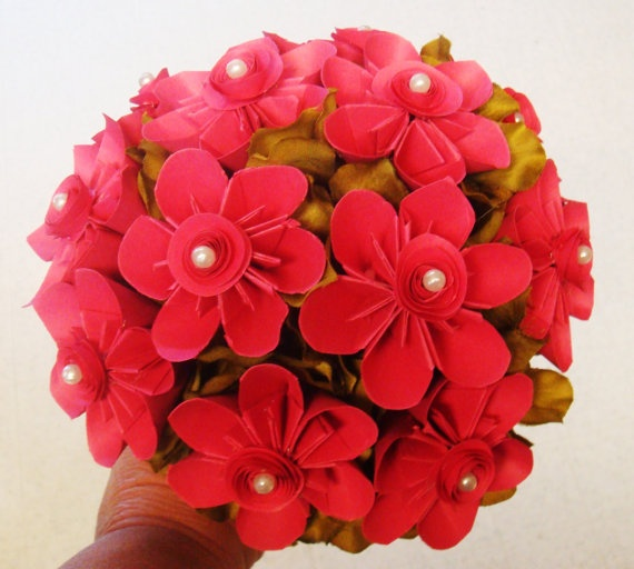 Hot Pink origami Wedding Bouquet Paper Hot by SweetPeasFlorals, $80.00
