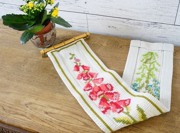 Hand Embroidered Wall Decor. Cross Stitched Embroidery, Swedish bells Flower by ScandicDiscovery on Etsy