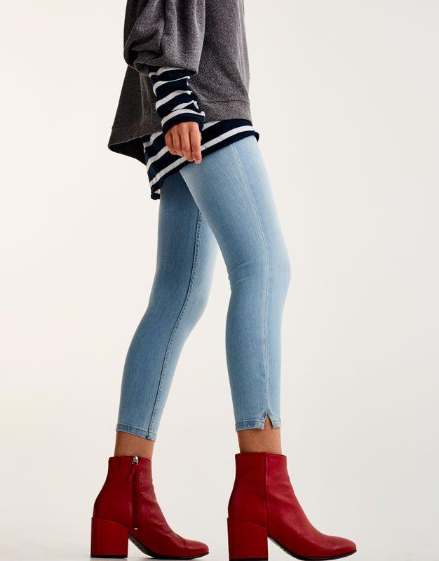 Botín tacón ancho - Ver todo - Zapatos - Mujer - PULL&BEAR España