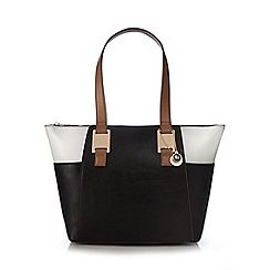 Black colour block shoulder bag