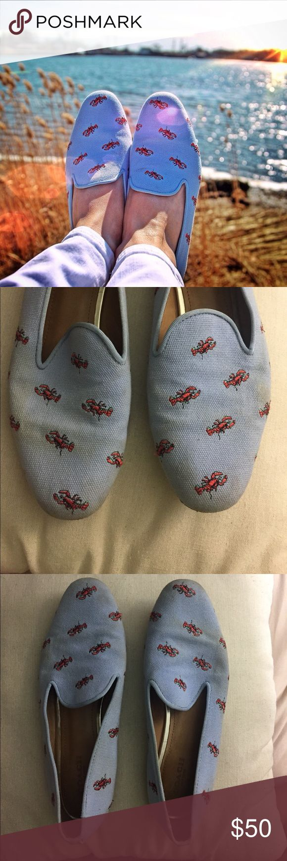 Coach Utopia Lobster Flats Super cute flats. The shoes have no odor and the foot beds are very clean. Always worn with no shoe socks. Lots of life left, some stains but to be honest I have not tried to remove so they might come out. Coach Shoes Flats & Loafers
