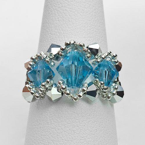 Gemstone Rings   Aquamarine 3 Stone Beaded Ring : Babylon Studios Store
