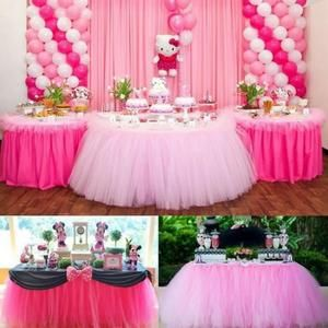 Tulle - Noeud - Ruban Jupe de Table Mariage Tulle Rose
