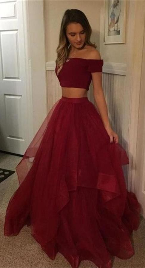 Cheap 2 Pieces Simple Long Burgundy A Line Off The Shoulder Prom Dresses OKE62