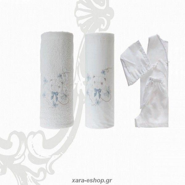 Σετ λαδόπανα βάπτισης με θέμα Ζωάκια Αρκουδάκι σε λευκό/σιέλ ή εκρού/σιέλ απόχρωση και οικονομική τιμή, Βάπτιση θέμα Ζωάκια, Λαδόπανα θέμα Αρκουδάκι, Βαπτιστικά λαδόπανα αγόρι τιμές, My Little Kiss βάπτιση θέμα αρκουδάκι, 6134