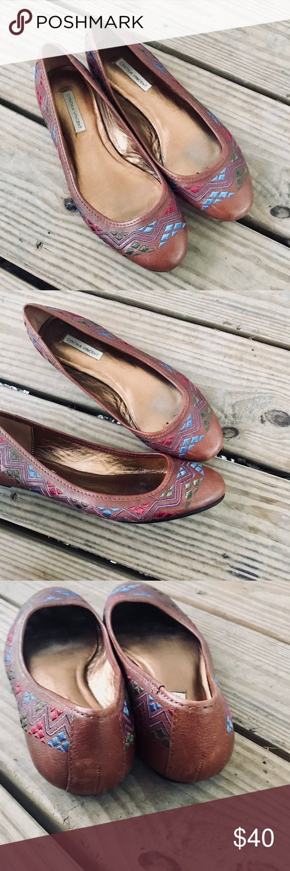Cynthia Vincent Aztec Flats!! Cognac brown with multicolor stitch Aztec print. Gently used!! Cynthia Vincent Shoes Flats & Loafers