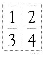 Numbers Flash Cards 0 to 100 - Set of 101 flash cards numbered 0 to 100. Great for number recognition.