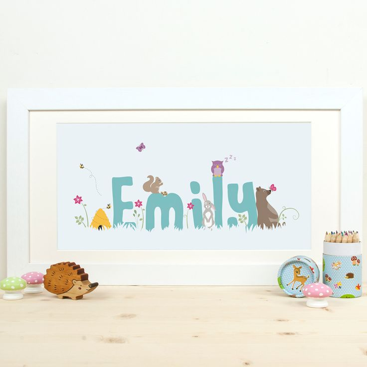 Personalised childs name woodland print