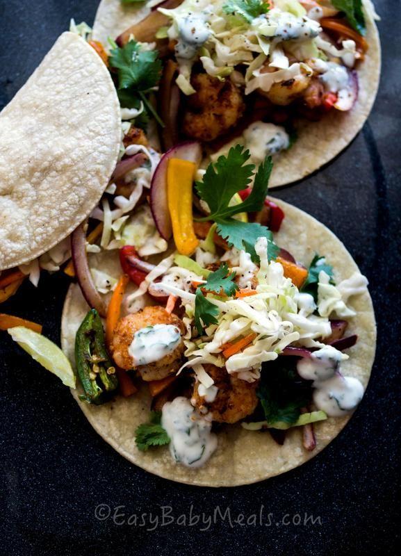 Spicy Shrimp Tacos with Mint Creme - www.easybabymeals.com #tacos
