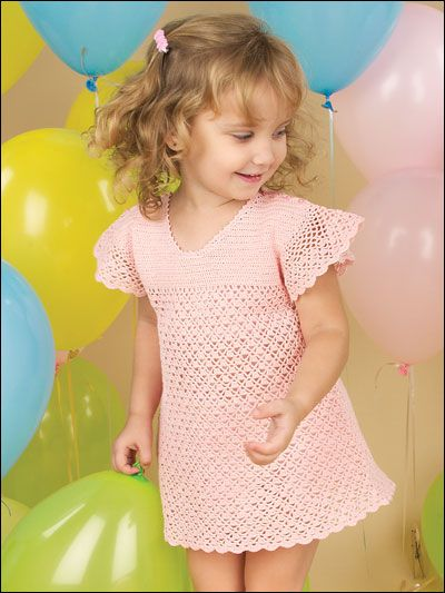Crochet this beautiful dress for your toddler. Size: Toddler 2, 3, 4.