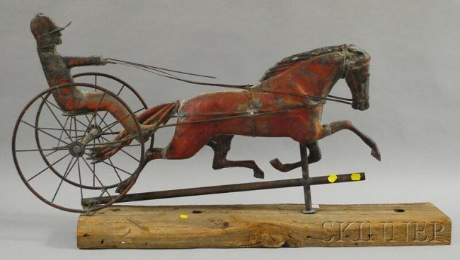 "Lot:1091: Molded Copper ""Dexter"" Horse and Sulky Weather Va, Lot Number:1091, Starting Bid:$1500, Auctioneer:Skinner , Auction:1091: Molded Copper ""Dexter"" Horse and Sulky Weather Va, Date:05:00 AM PT - Jul 19th, 2012"