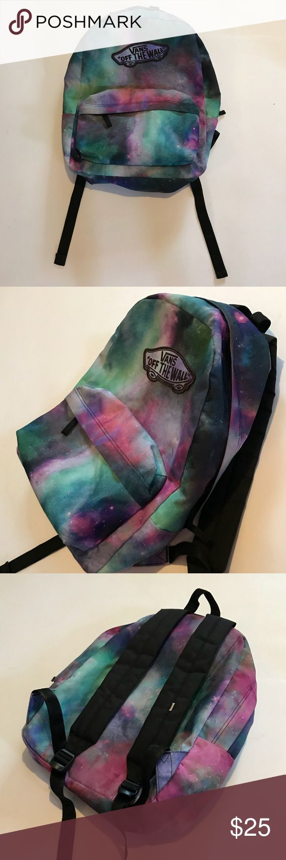 [Vans] backpack Galaxy pattern.  Condition: used, a little bit of frying on bottom as shown. Last pic Vans Bags Backpacks