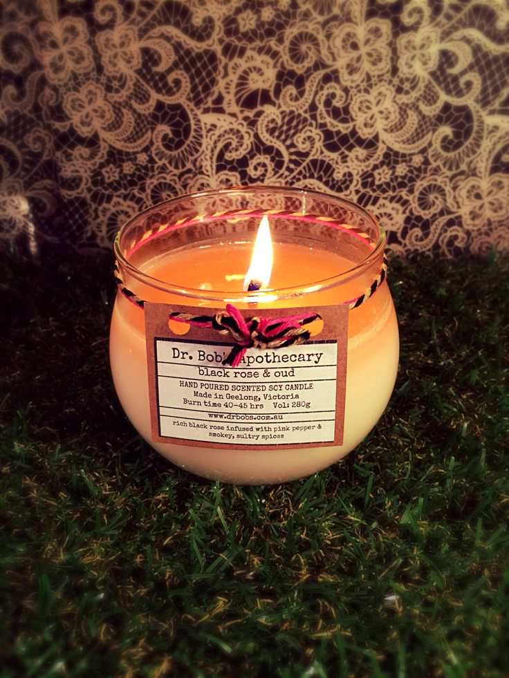 Dr Bob's Apothecary 45hr Burntime Candle  -  Black Rose & Oud  Premium Handpoured Scented Soy Candles  www.drbobs.com.au
