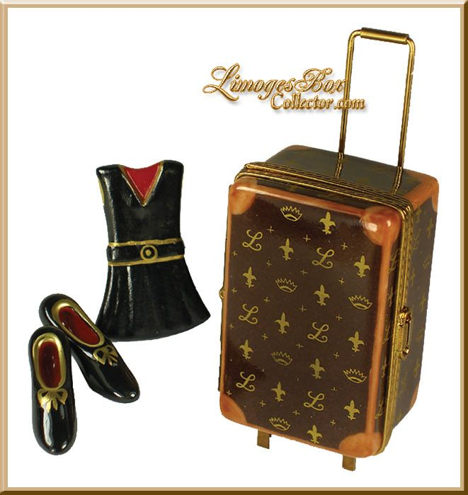 Designer Suitcase with Clothes Limoges Box (Beauchamp)