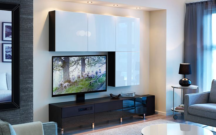 """BESTÅ/UPPLEVA black-brown TV bench with black high-gloss drawer fronts and wall cabinets with white high-gloss doors including 40"""" LED TV"""