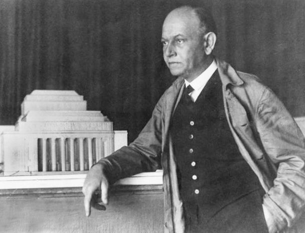 Moric Pogany, architect, about 1914, with a model of a design for the Hungarian National Theater.  Among all the architectural plans submitted, his design was selected to be constructed; however World War I began soon after, and the theater was not built.