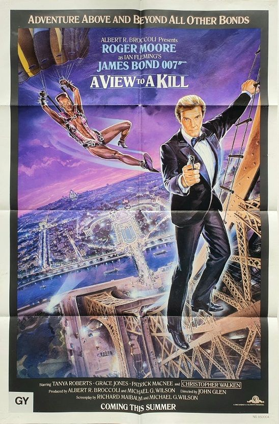 A View To A Kill Us One Sheet Poster With Roger Moore And Grace