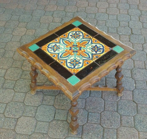 Tudor Spanish Revival California Tile Top Table Nice Wood Base | eBay