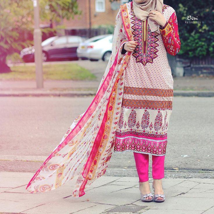 Desi hijabi pink shalwar kameez