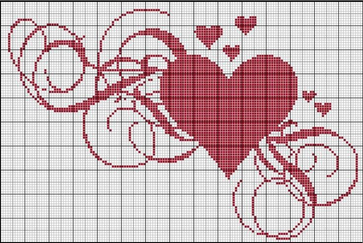 Cross-stitch Heart.. no color chart, just use pattern chart colors as your guide.. or choose your own colors.    Coeur_Tourbillon
