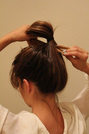 Or ditch the headband and loop your ponytail through for a no-fuss updo: | 21 Second-Day Hairstyle Tutorials