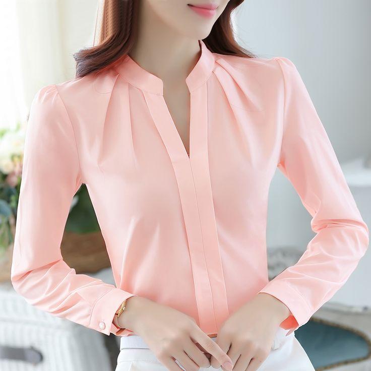 Más el tamaño de la gasa de la blusa de la camisa femenina oficina Ropa de trabajo delgadas camisa blanca mujeres del color sólido de manga larga vestir de las tapas de las mujeres