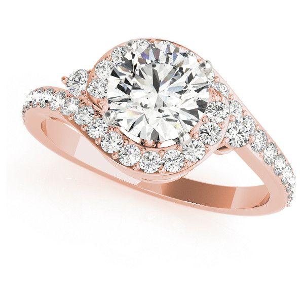 Allurez Halo Swirl Diamond Engagement Ring 14k Rose Gold (1.50ct) ($5,245) ❤ liked on Polyvore featuring jewelry, rings, 14k rose gold ring, rose gold engagement rings, 14k diamond ring, rose gold diamond ring and 14 karat diamond ring