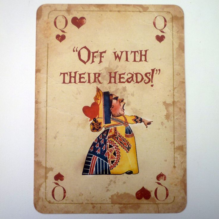 1 Alice in Wonderland A4 QUOTE Giant Playing Card Prop Mad Hatters Tea Party Q in Home, Furniture & DIY, Celebrations & Occasions, Party Supplies | eBay