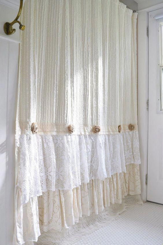 Shabby Cottage Chic Shower Curtain Cream Chenille Lace