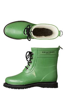 green ankle wellies with fleece lining - perfection! Ilse Jacobsen again.