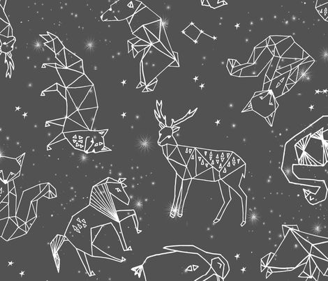 Origami Constellations - Slate Grey by Andrea Lauren fabric by andrea_lauren on Spoonflower - custom fabric