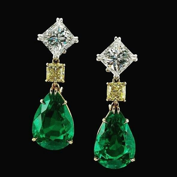 Diamond, Yellow Diamond & Emerald Earrings.  I don't know the designer !! •