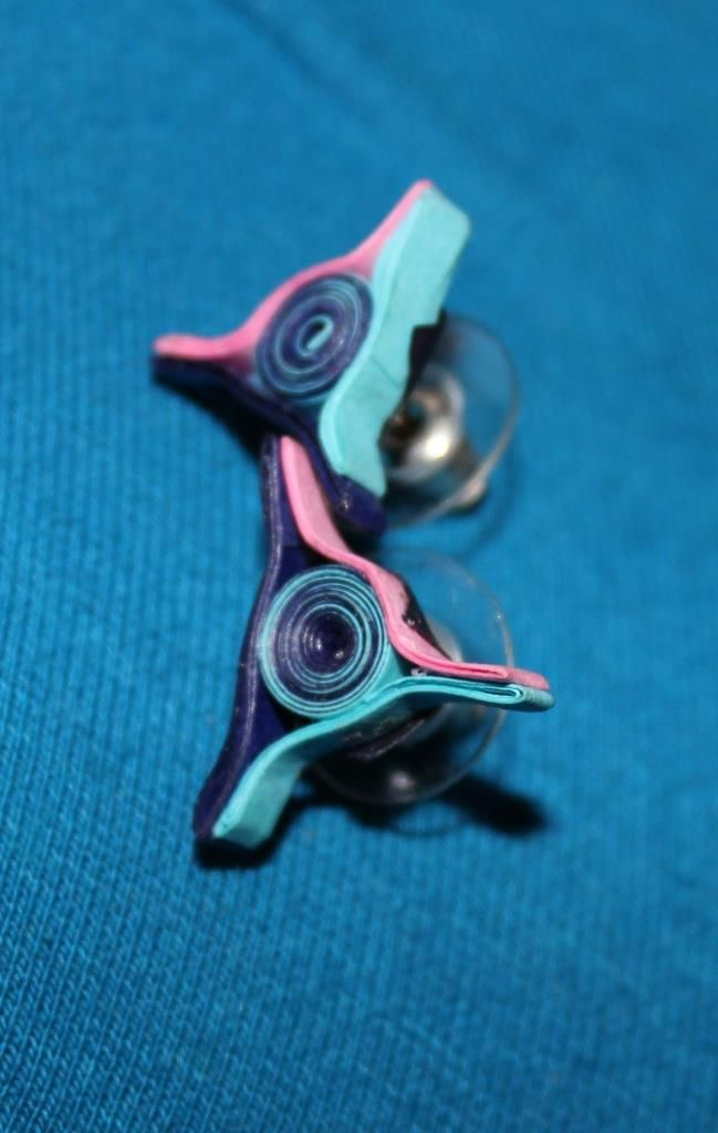 Blue Pink and Light blue Quilled Ear Stud