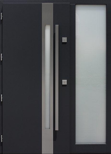 Drzwi zewnętrzne ze stałą dostawką doświetlem bocznym model 454,2 w kolorze antracyt