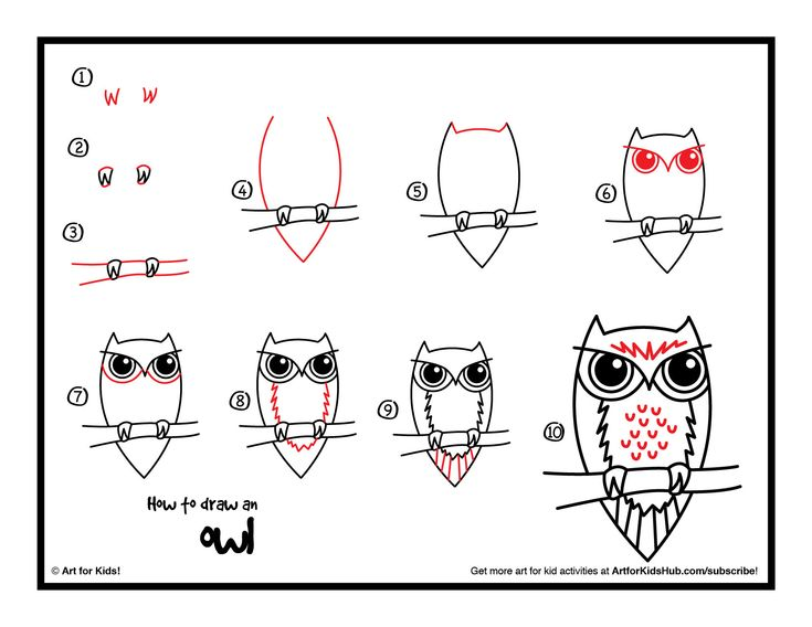 Really simple step by step instructions for kids on how to draw an owl. Watch the fun video, and download the free printable!