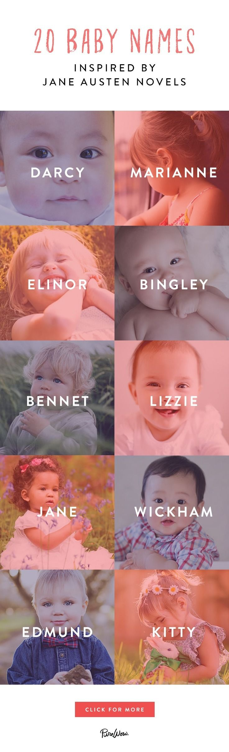 We adore her novels, her characters, her witty writing and her love of…well, love. Yep, we even revere them enough to bestow our offspring with one of her timeless monikers. Here are 20 baby names for the Jane Austen-obsessed.