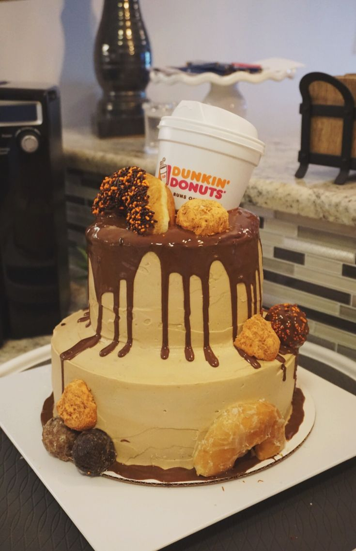 Dunkin donuts birthday cake by paperdeers dunkin donuts