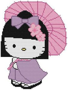 Cross Stitch Knit Crochet Plastic Canvas Waste Canvas Rug Hooking Pattern Hello Kitty in her Japanese Kimono and Zori shoes and her Umbrella. https://www.pinterest.com/resparkled/