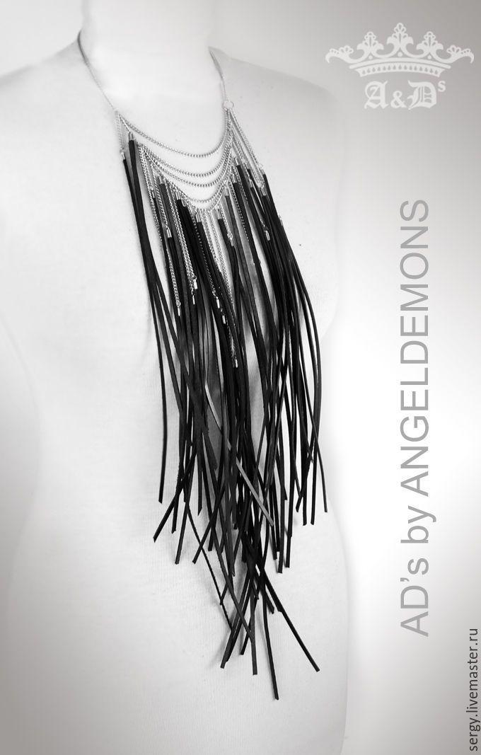 Купить Колье Black Brushwood - черный, колье, бусы, колье ручной работы, колье из кожи