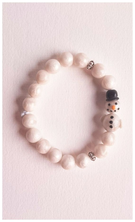 Polymer clay snowman bead bracelet by Little Clay Place
