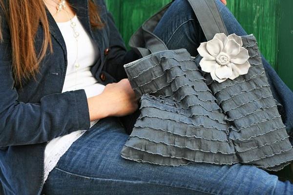 Ruffle Fabric Tote - #DIY