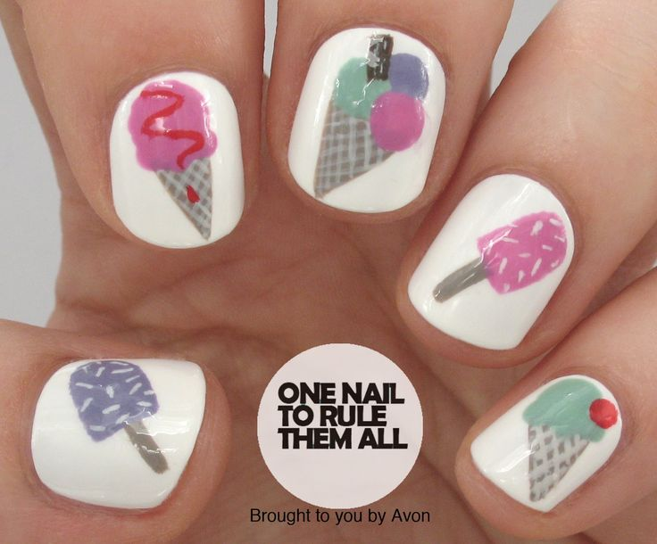 Ice Cream Nail Art for Avon + TUTORIAL - One Nail To Rule Them All