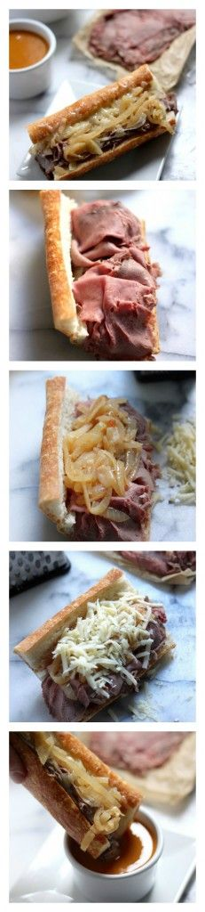 French Onion French Dip Sandwiches - A hearty french dip topped with caramelized onions! SO good.
