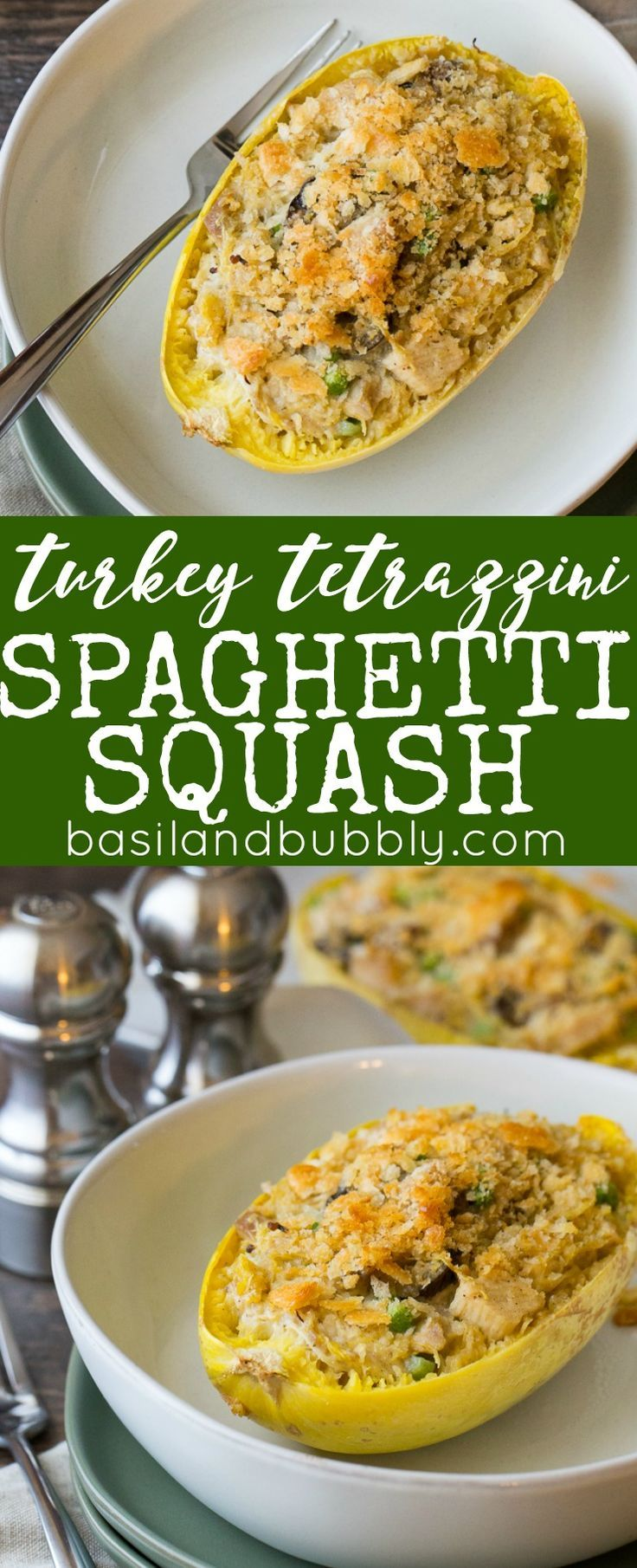 Leftover turkey tetrazzini is like a healthy casserole in its own bowl! It's creamy like a pot pie, and packed full of vegetables to use up leftovers. This easy recipe tells you exactly what to do to cook the spaghetti squash.