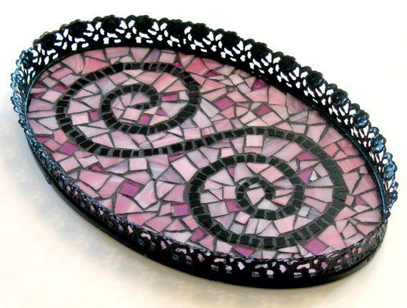 Mosaic Metal Filagree Tray, Black Pink Mosaic Tray, Makeup Tray, Perfume Tray, Vanity Tray, Pink Black Tray