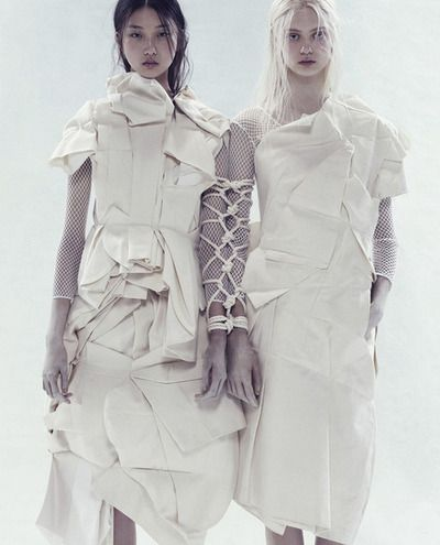 Bloom where you are planted. Yue Ning and Nastya Kusakina by Paola Kudacki for i-D Spring 2013