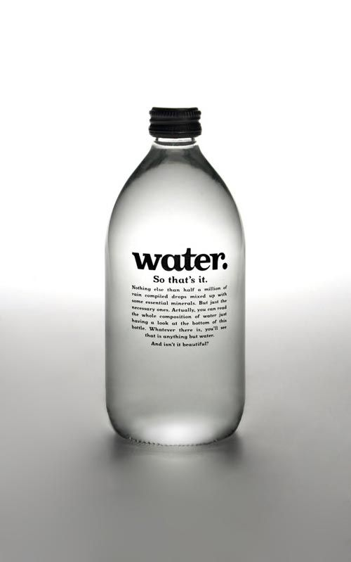 white bottle packaging design | University project consisted on creating a new water brand, concept ...