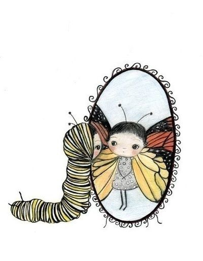 I love this girl sees in the mirror that she will turn into a butterfly some day.  I like her as both a caterpillar and as a butterfly!